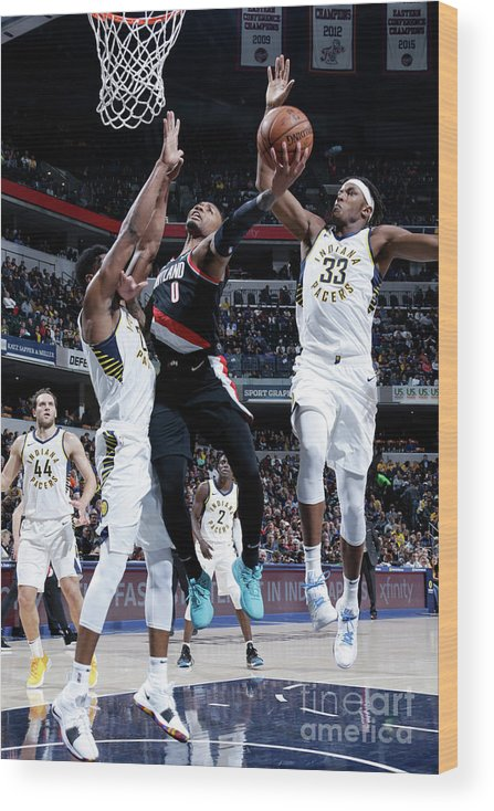 Nba Pro Basketball Wood Print featuring the photograph Damian Lillard by Ron Hoskins