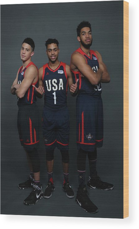 Smoothie King Center Wood Print featuring the photograph D'angelo Russell and Devin Booker by Gary Dineen