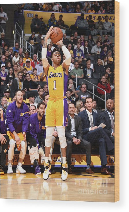 Nba Pro Basketball Wood Print featuring the photograph D'angelo Russell by Andrew D. Bernstein