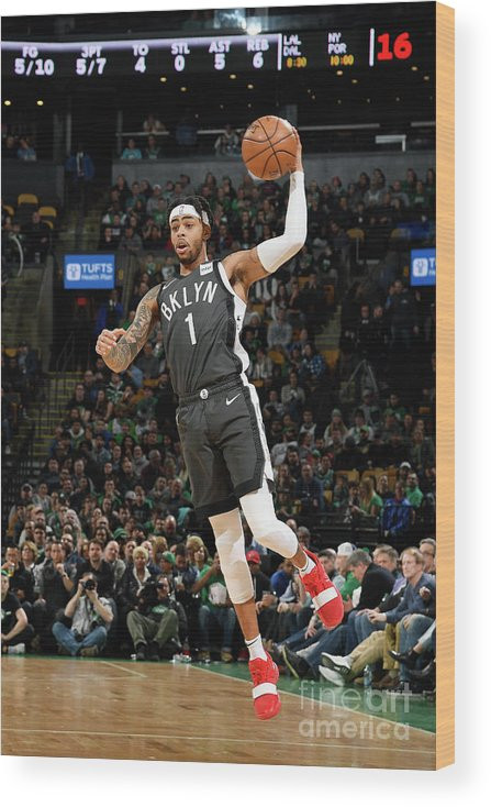 Nba Pro Basketball Wood Print featuring the photograph D'angelo Russell by Brian Babineau