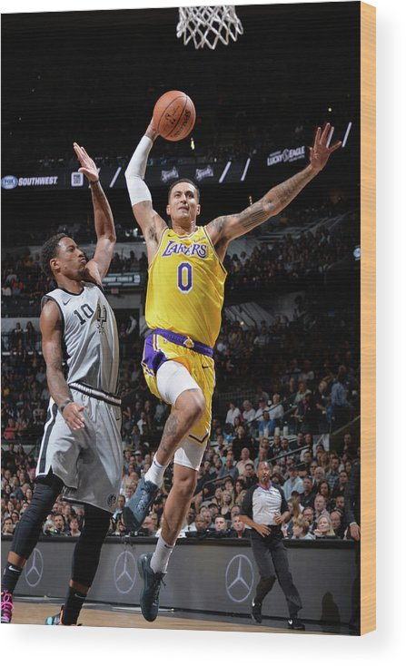 Nba Pro Basketball Wood Print featuring the photograph Demar Derozan and Kyle Kuzma by Mark Sobhani