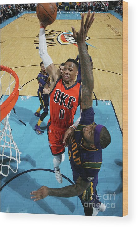 Nba Pro Basketball Wood Print featuring the photograph Demarcus Cousins and Russell Westbrook by Layne Murdoch