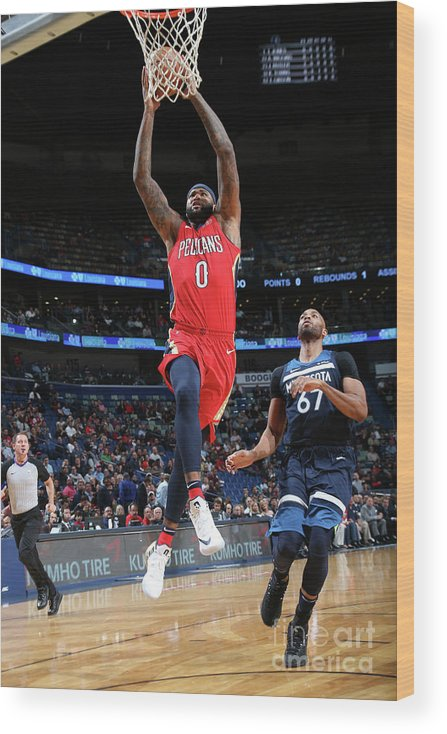 Smoothie King Center Wood Print featuring the photograph Demarcus Cousins and Taj Gibson by Layne Murdoch Jr.