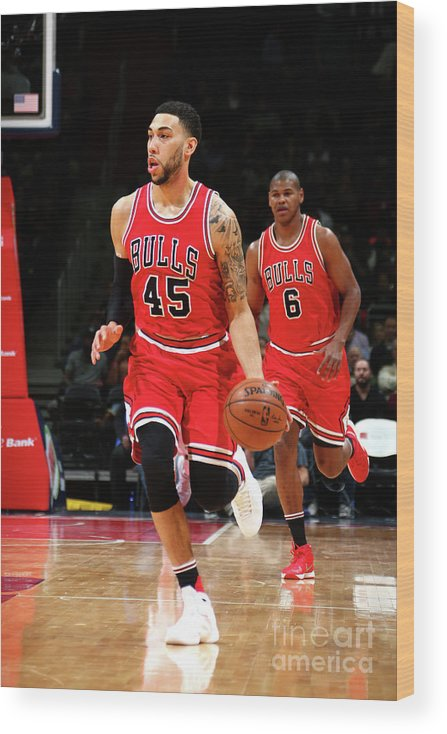 Nba Pro Basketball Wood Print featuring the photograph Denzel Valentine by Ned Dishman