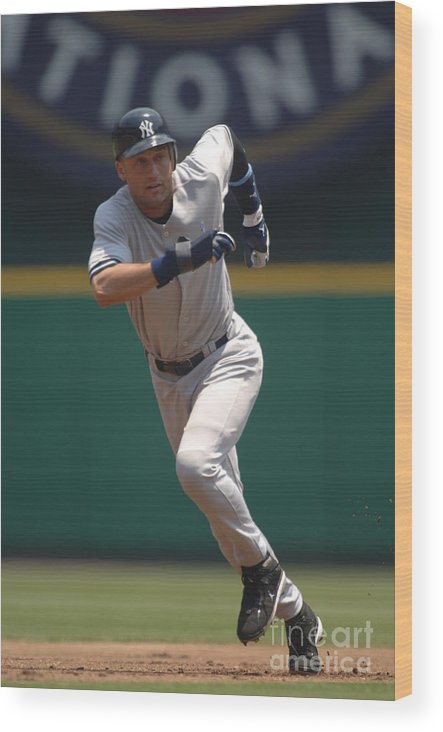 People Wood Print featuring the photograph Derek Jeter by Mitchell Layton