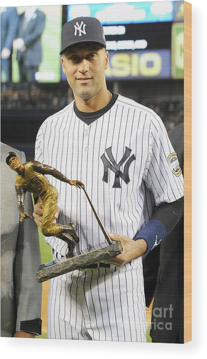 Game Two Wood Print featuring the photograph Derek Jeter by Rich Pilling
