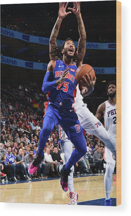 Nba Pro Basketball Wood Print featuring the photograph Derrick Rose and Joel Embiid by David Dow