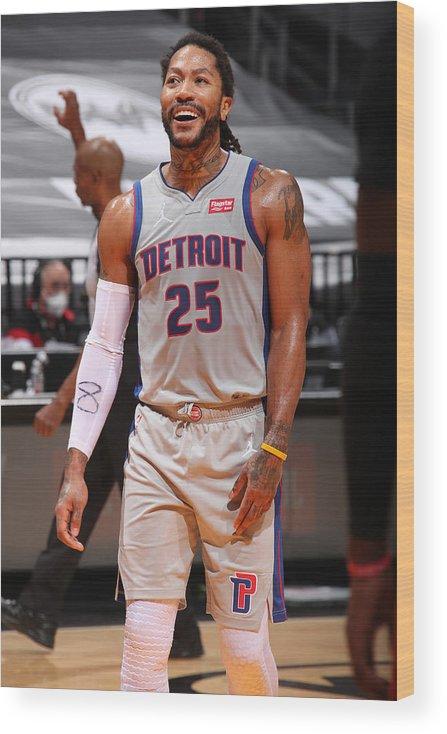 Nba Pro Basketball Wood Print featuring the photograph Derrick Rose by Issac Baldizon