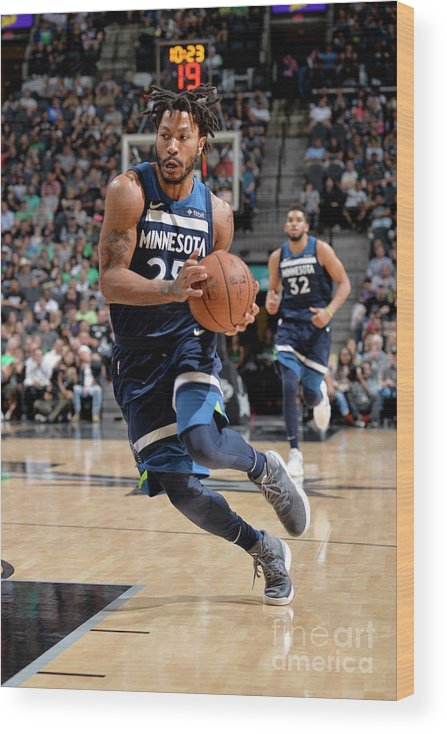 Nba Pro Basketball Wood Print featuring the photograph Derrick Rose by Mark Sobhani