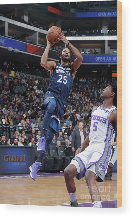 Nba Pro Basketball Wood Print featuring the photograph Derrick Rose by Rocky Widner