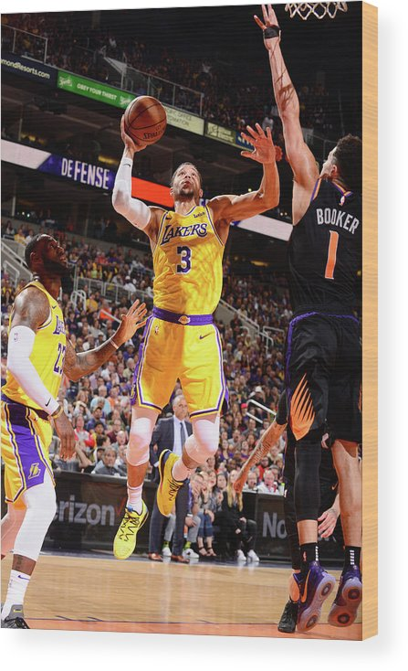 Nba Pro Basketball Wood Print featuring the photograph Devin Booker and Josh Hart by Barry Gossage