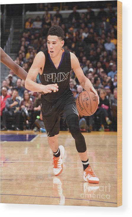 Nba Pro Basketball Wood Print featuring the photograph Devin Booker by Andrew D. Bernstein