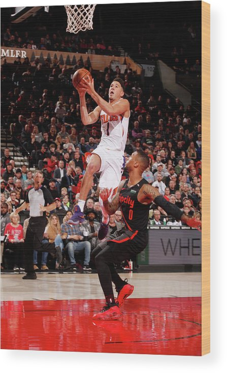 Nba Pro Basketball Wood Print featuring the photograph Devin Booker by Cameron Browne