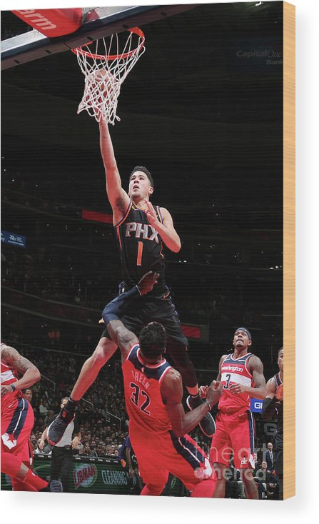 Nba Pro Basketball Wood Print featuring the photograph Devin Booker by Ned Dishman