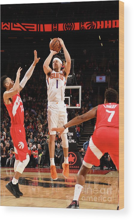 Nba Pro Basketball Wood Print featuring the photograph Devin Booker by Ron Turenne
