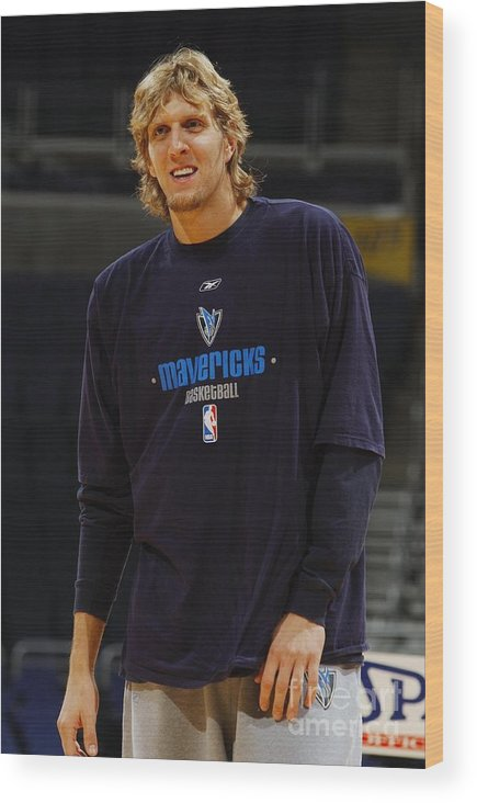 Nba Pro Basketball Wood Print featuring the photograph Dirk Nowitzki by Mitchell Layton