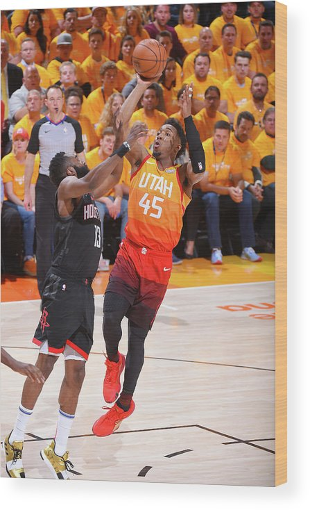 Playoffs Wood Print featuring the photograph Donovan Mitchell and James Harden by Bill Baptist