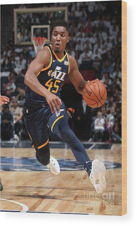 Nba Pro Basketball Wood Print featuring the photograph Donovan Mitchell by David Sherman