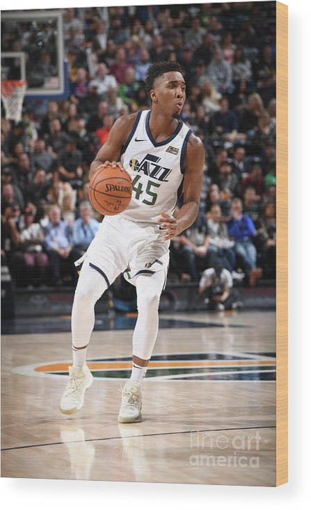Nba Pro Basketball Wood Print featuring the photograph Donovan Mitchell by Garrett Ellwood