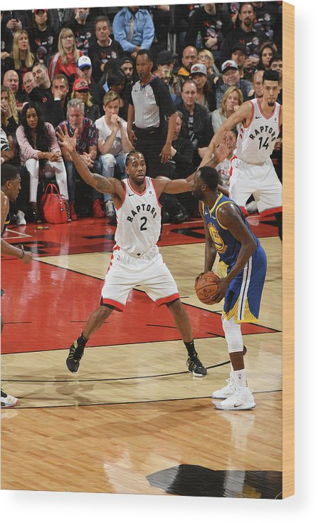 Playoffs Wood Print featuring the photograph Draymond Green and Kawhi Leonard by Ron Turenne