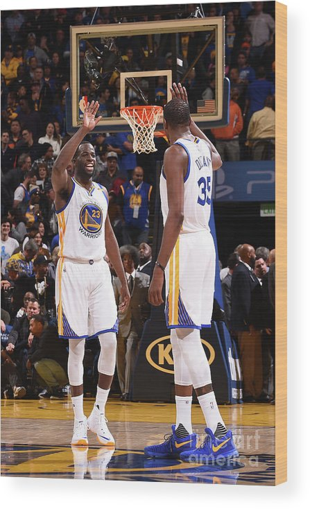 Nba Pro Basketball Wood Print featuring the photograph Draymond Green and Kevin Durant by Noah Graham