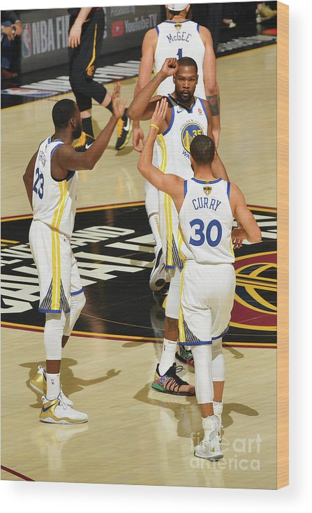 Playoffs Wood Print featuring the photograph Draymond Green, Stephen Curry, and Kevin Durant by Jesse D. Garrabrant