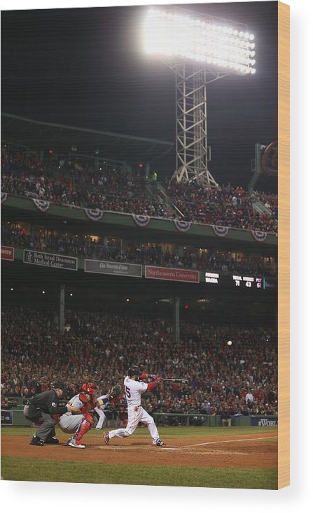 Playoffs Wood Print featuring the photograph Dustin Pedroia by Brad Mangin