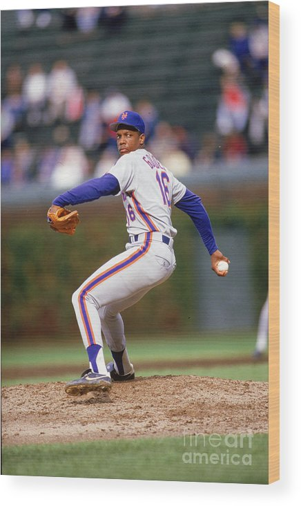 Dwight Gooden Wood Print featuring the photograph Dwight Gooden by Ron Vesely