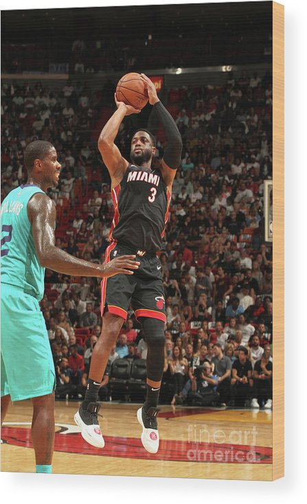 Nba Pro Basketball Wood Print featuring the photograph Dwyane Wade by Oscar Baldizon