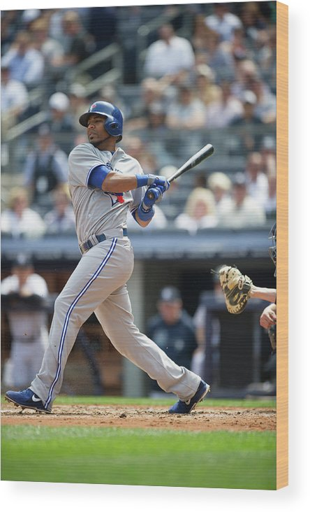 American League Baseball Wood Print featuring the photograph Edwin Encarnacion by Rob Tringali