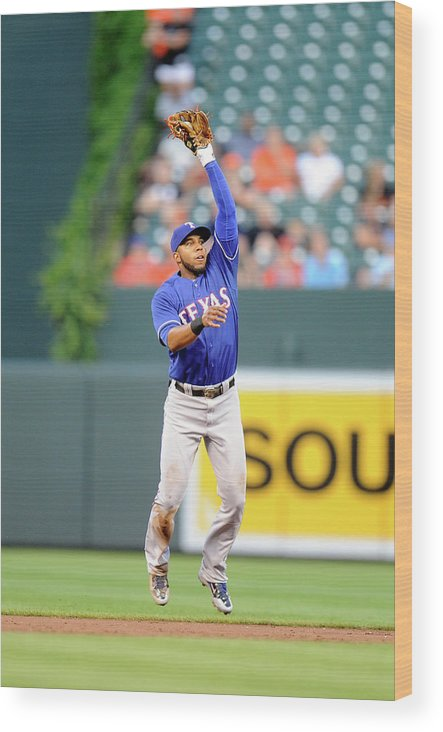 Second Inning Wood Print featuring the photograph Elvis Andrus and Ryan Flaherty by Greg Fiume