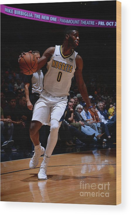 Nba Pro Basketball Wood Print featuring the photograph Emmanuel Mudiay by Bart Young