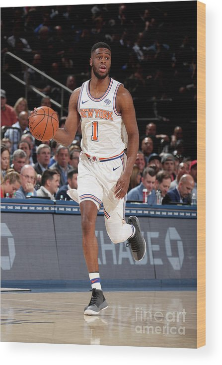 Nba Pro Basketball Wood Print featuring the photograph Emmanuel Mudiay by Nathaniel S. Butler