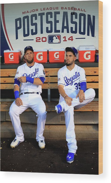 American League Baseball Wood Print featuring the photograph Eric Hosmer And Alex Gordon by Jamie Squire