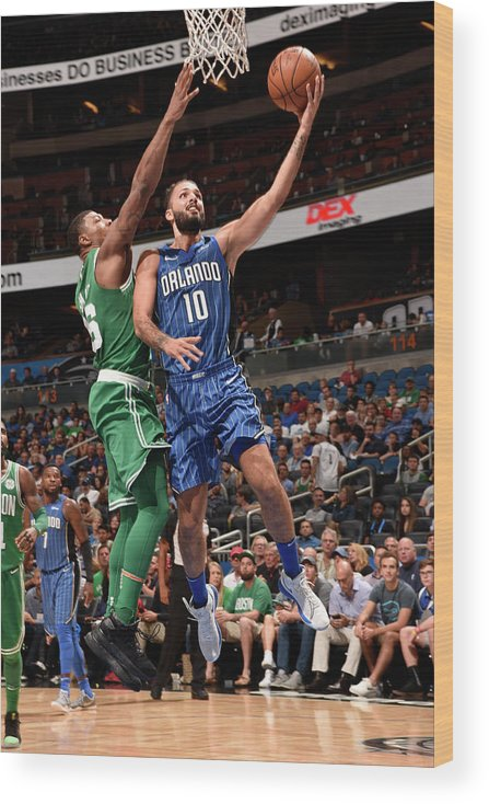 Nba Pro Basketball Wood Print featuring the photograph Evan Fournier by Gary Bassing