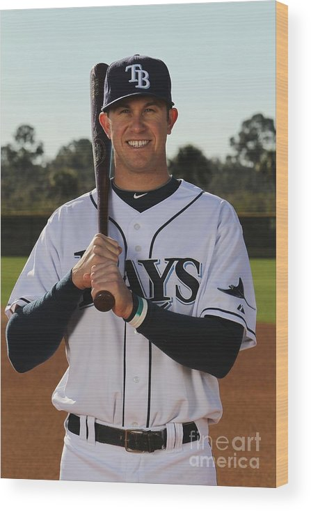 Media Day Wood Print featuring the photograph Evan Longoria by Nick Laham