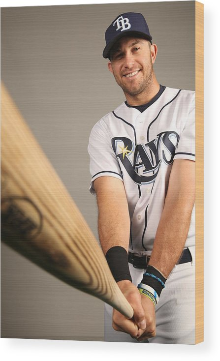 Media Day Wood Print featuring the photograph Evan Longoria by Robbie Rogers