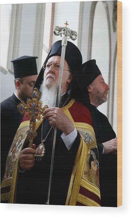 Vertical Wood Print featuring the photograph Fener-Greek Patriarch Bartholomew presides mass in Izmir by Anadolu Agency