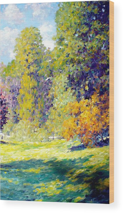 Landscape Wood Print featuring the painting Field II by Kevin Lawrence Leveque