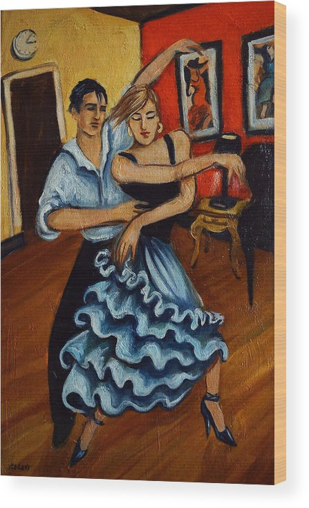Dancers Wood Print featuring the painting Flamenco by Valerie Vescovi