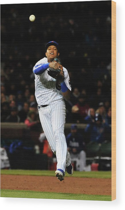 People Wood Print featuring the photograph Francisco Cervelli and Starlin Castro by David Banks