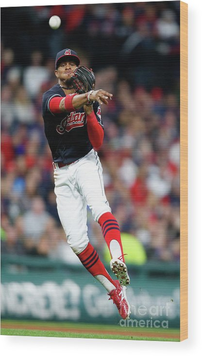 People Wood Print featuring the photograph Francisco Lindor by Ron Schwane