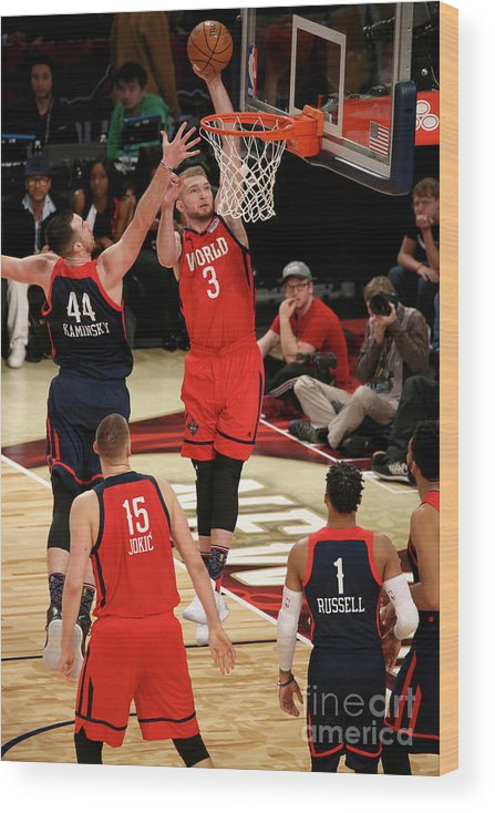Smoothie King Center Wood Print featuring the photograph Frank Kaminsky and Domantas Sabonis by Gary Dineen