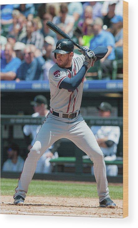 National League Baseball Wood Print featuring the photograph Freddie Freeman by Dustin Bradford