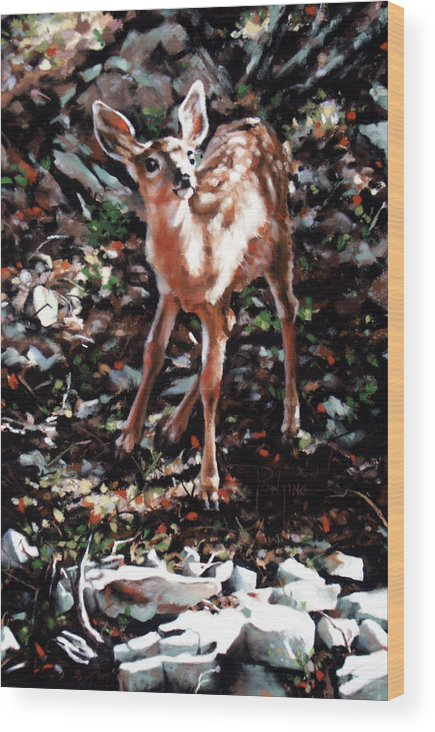 Deer Wood Print featuring the painting Garden Ornament by Dianna Ponting