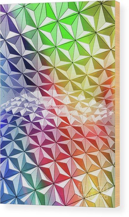 Design Wood Print featuring the digital art Geo Rainbow Sphere by Edward Fielding