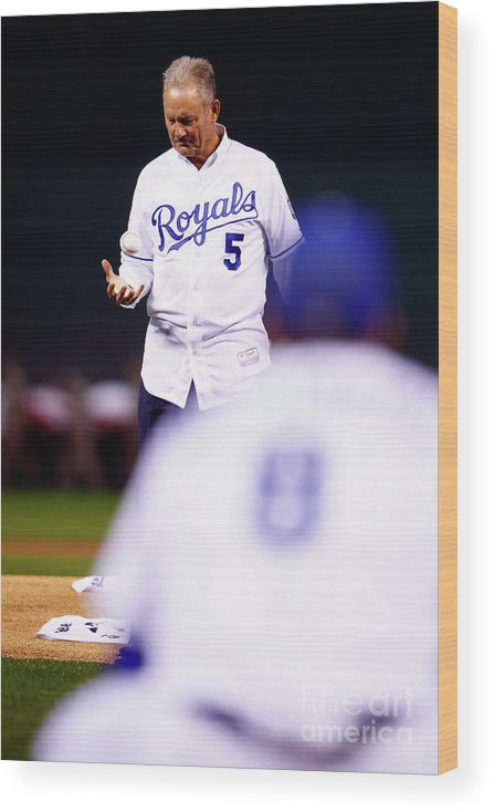 Three Quarter Length Wood Print featuring the photograph George Brett by Jamie Squire