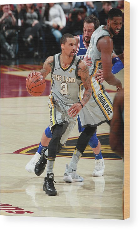 Nba Pro Basketball Wood Print featuring the photograph George Hill by Jeff Haynes