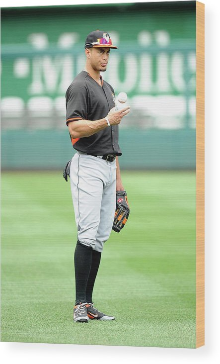 American League Baseball Wood Print featuring the photograph Giancarlo Stanton by Greg Fiume