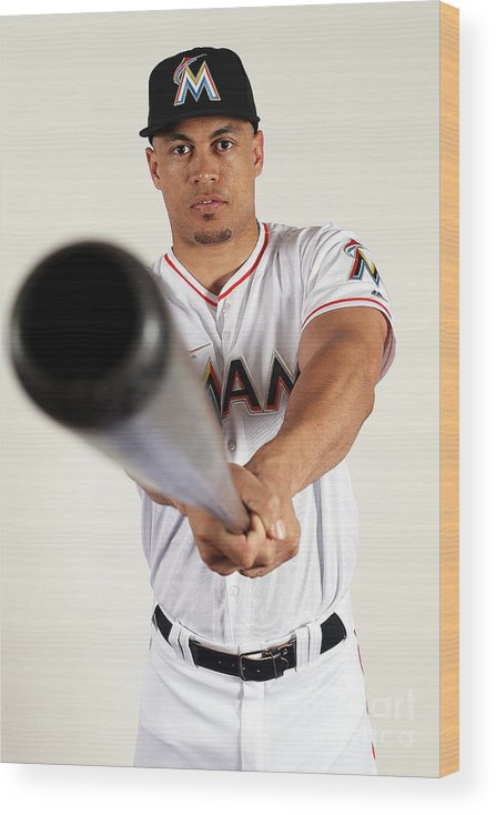Media Day Wood Print featuring the photograph Giancarlo Stanton by Marc Serota